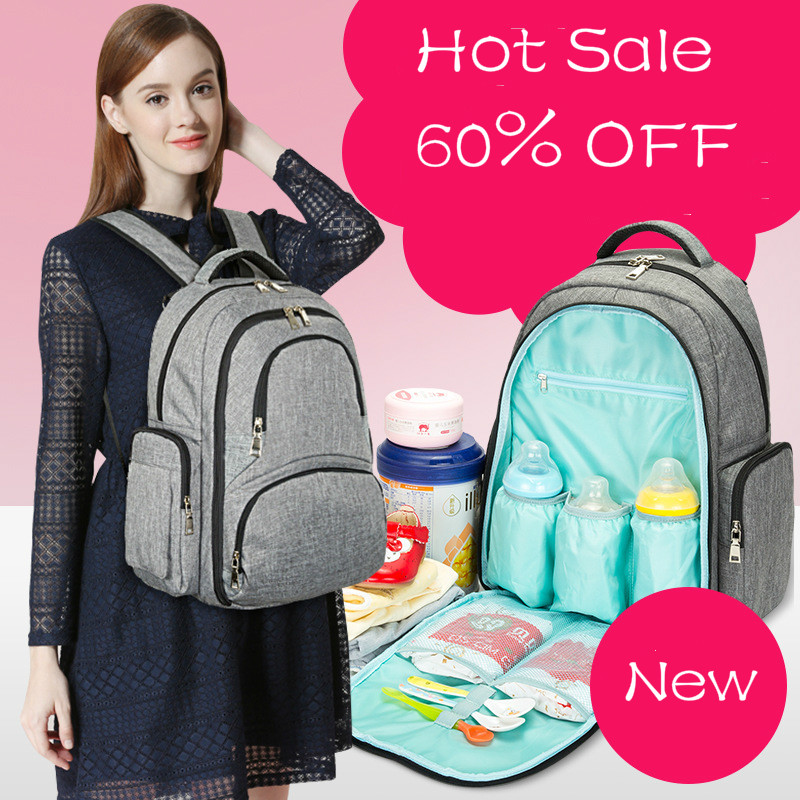 все цены на Baby Diaper Bag Travel Backpack Waterproof Mummy Nappy Bag With Babys Urinal Pad Pram Hanging Bag Shoulder Maternity Strollerbag онлайн