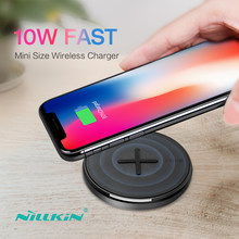 NILLKIN Button 10W fast Qi Wireless Charger for Samsung S10/S10e/S8/Note 8 Mini Wireless Charging Pad For iPhone X/8/XR For Mi 9(China)