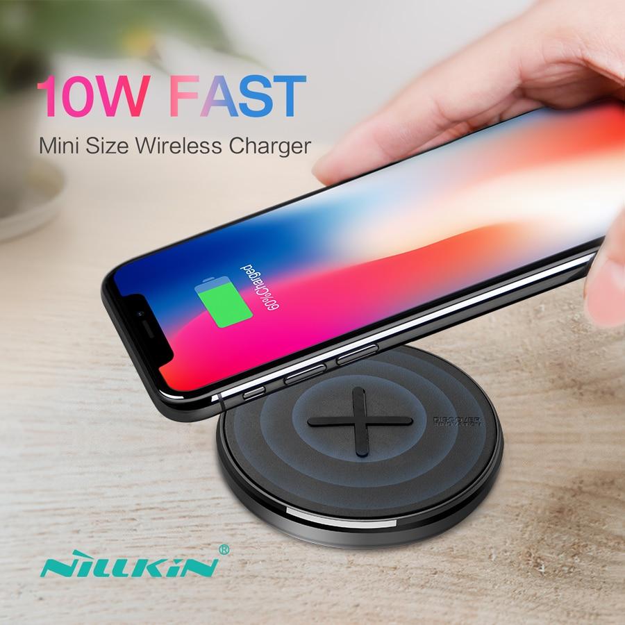 NILLKIN botón 10 W fast Qi cargador inalámbrico para Samsung S8/nota 8/S7 Mini cojín de carga inalámbrico para el iPhone X/8/8 Plus/XS/Max