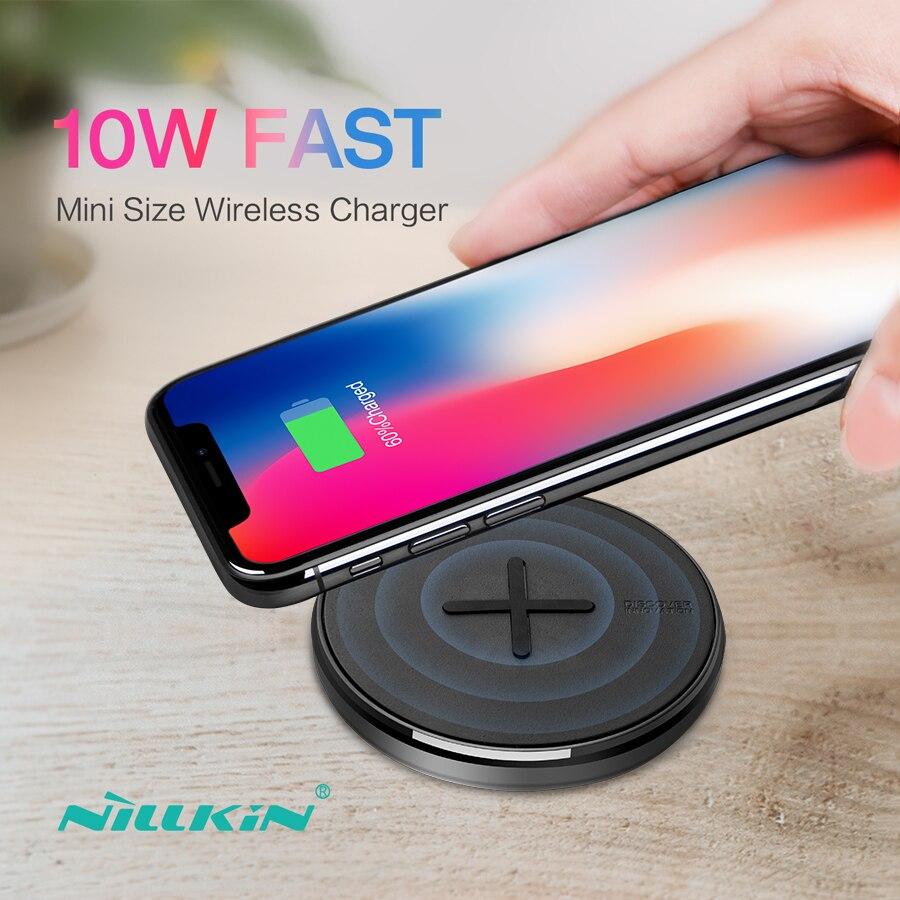 NILLKIN botón 10 W rápida cargador inalámbrico Qi para Samsung S10/S10e/S8/nota 8 Mini Wireless almohadilla de carga para iPhone X/8/XR para Mi 9