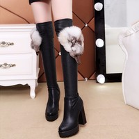 Fashion High Heel Boots Women Stretch Fabric Sock Boots Pointy Toe Over the Knee Heel Thigh High Pointed Toe Plush Woman Boot
