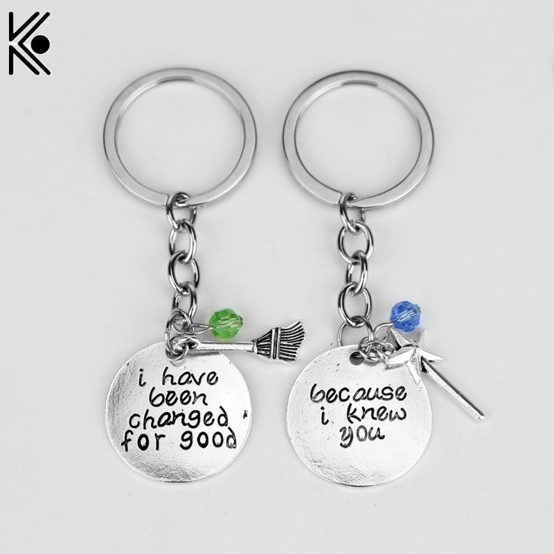 """Wicked the Musical Key Chain """"Because I Knew You, I Have Been Changed For Good"""" Hand Stamped Letter Pendant BBF Couple Jewelry"""