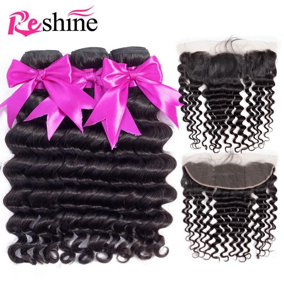 Reshine Peruvian Hair Loose Deep Wave Bundles With Frontal Human Hair Bundles With 13 4 Frontal