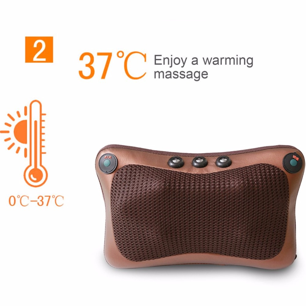 2017 Car Home Office 6 Heads Magnetic Therapy Electronic Neck Massager Neck Shoulder Back Waist Massage Pillow Cushion New