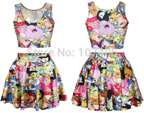 005cf9a998 Fashion Adventure Time Cartoon Print Women crop top and skirt set galaxy  saia Skirt casual Women clothing plus size free