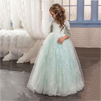 Ball Gown Mint Green Flower Girl Dresses For Weddings 2017 Vestido Communion Bow Lace Tulle Pageant