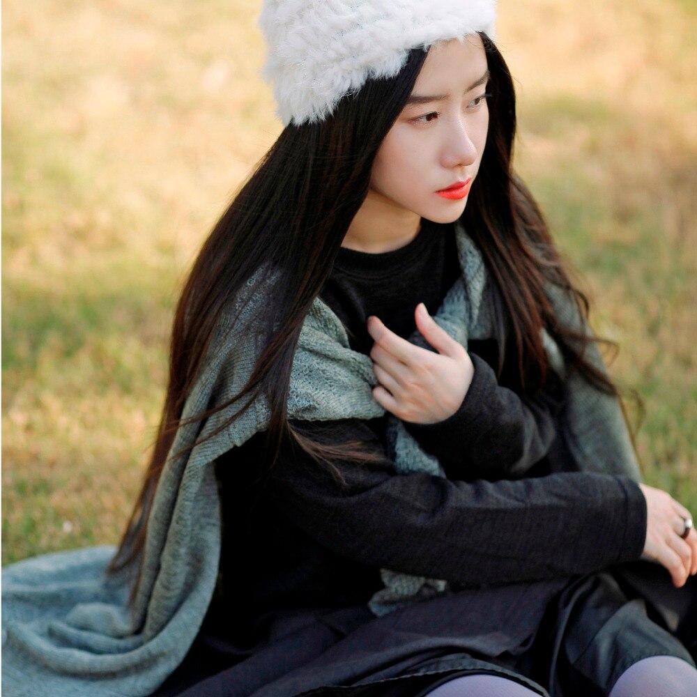 2017 New Mori Girl Cutout Type Batwing Cardigan Irregular V Neck Wool Knitted Top Medium Long
