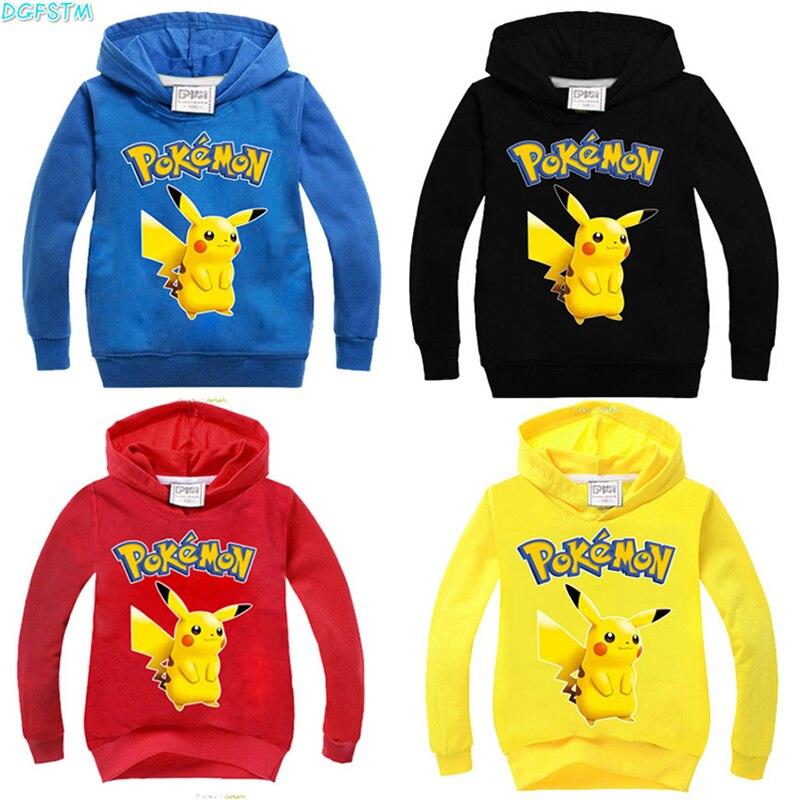 2017 neue Herbst sweatshirt Baumwolle Cartoon POKEMON GEHEN Pikachu Kinder jungen mädchen kleidung lange hoodies hülse T-shirt einzelhandel