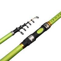 1.8 m 2.1 2.4 2.7 3.0 portátil telescópica vara de pesca de fibra de vidro pólo de pesca viagens mar pesca fiação vara