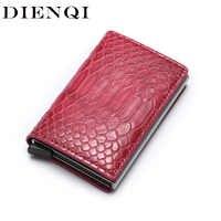 620aea86e60d DIENQI анти вор Rfid Блокировка ID держатель кредитной карты кошелек Тонкий  Бизнес банкнот держатель карты кожаный