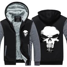 2017 neue ankunft mens hoodie Mode hoodies winter verdicken fleece punisher superhero Neuheit hoodies verdicken US EU Plus Größe