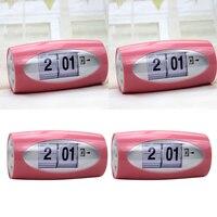 2x Modern Style Auto Flip Desk Clock Vintage Table Alarm Clock Modern Office Home Decor Table Clock