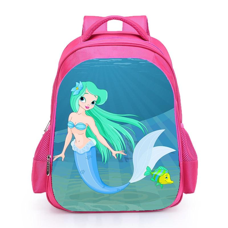 The Little Mermard Ariel Backpack 2018 Pink Princess Kids School Bag Fairy Tale Schoolbag Book Bags for Teen Girls mochila Bolsa (7)