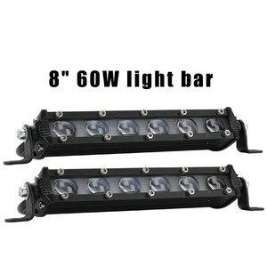 Image 3 - Lampade A LED Per Auto 8 Pollici 60W Luce del Lavoro del LED Bar Impermeabile Off Road Spotlight Proiettore Lampada Della Nebbia Luces led Para Auto