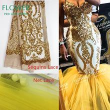 Ouro lantejoulas bordado africano tecido de renda líquida francesa 2019 design clássico indiano nigeriano vestidos de noite das mulheres do baile tecidos