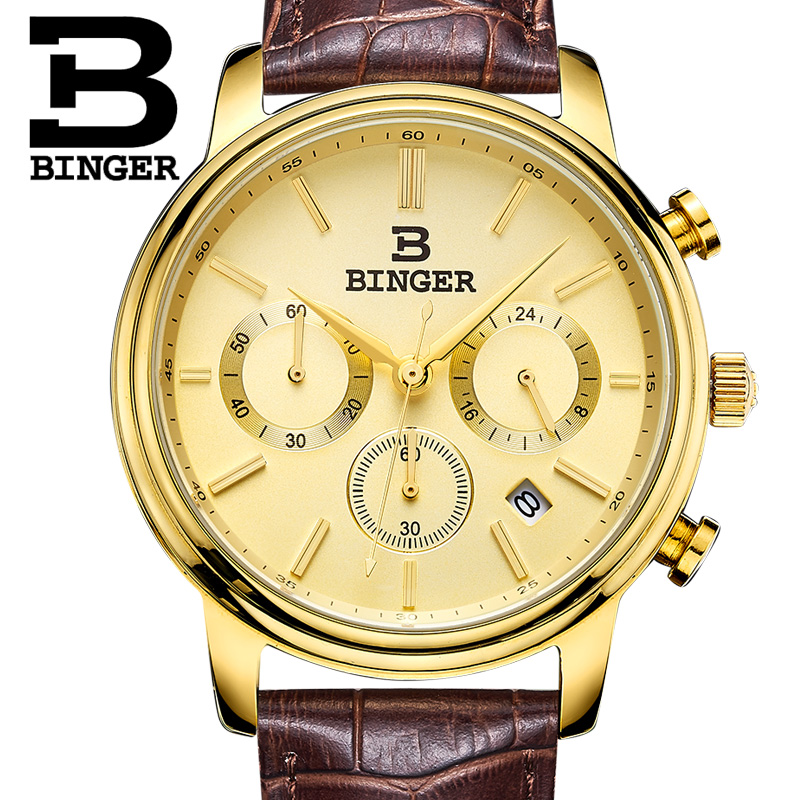 Switzerland BINGER watches men luxury brand Quartz waterproof Chronograph Stop Watch leather strap Wristwatches B9005-5 switzerland binger men s watch luxury brand tonneau quartz waterproof leather strap wristwatches b3038