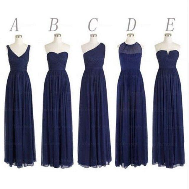 caa910e53 5 Estilos Largo Azul Marino dama de Honor Vestidos de Fiesta de Un Hombro Gasa  vestido