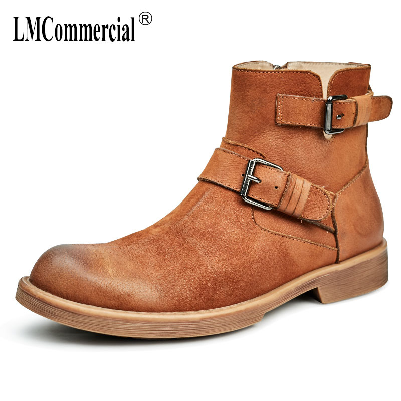 2017 new autumn winter British retro men's boots high shoes genuine leather short boots men thick cowhide bottom Martin boots martin boots men s high boots korean shoes autumn winter british retro men shoes front zipper leather shoes breathable
