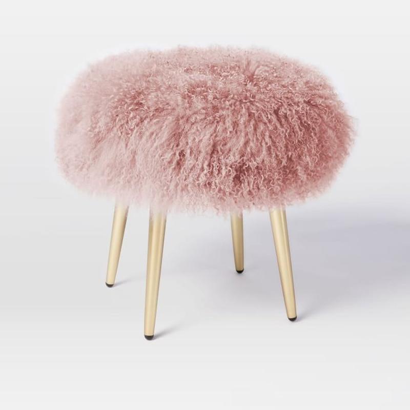 Nordic Modern Minimalist Beach Wool Stool Stainless Steel Bedroom Dressing Stool Sofa Change Shoe Bench
