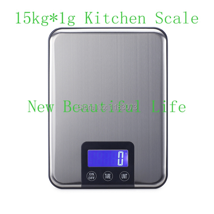 15KG 1g Digital Kitchen Scale 15kg Big Food Diet Weight Slim Stainless Steel Electronic Scales Touch Button With Package
