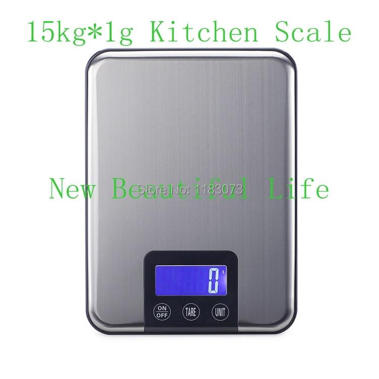 15KG 1g digitaalne köögiskaala 15 kg suur toidukraamiga kaal õhukeste roostevabast terasest elektrooniliste kaalude puutetundlik nupp pakendiga