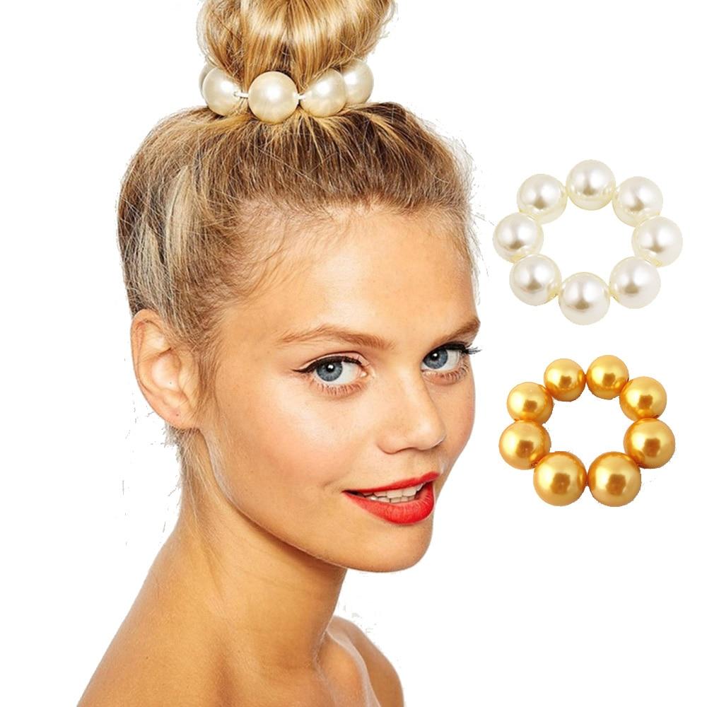 Women Headwear Big Pearl Hair Rope Holder Hairband for Women Girl Hair Ring Pearl Beads Crown High Stretch Hair Band Accessories