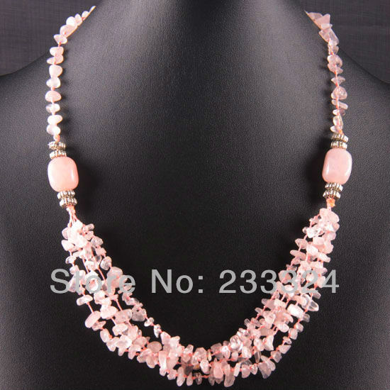Free Shipping New without tags 5X8MM Pink Crystal Chip Beads Nylon Line Weave Crystal Necklace 22 1Pcs RE738