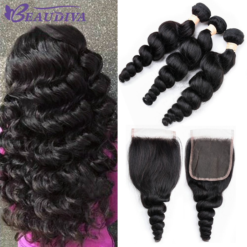 Beaudiva Brazilian Human Hair Weave Loose Wave Bundles With Closure