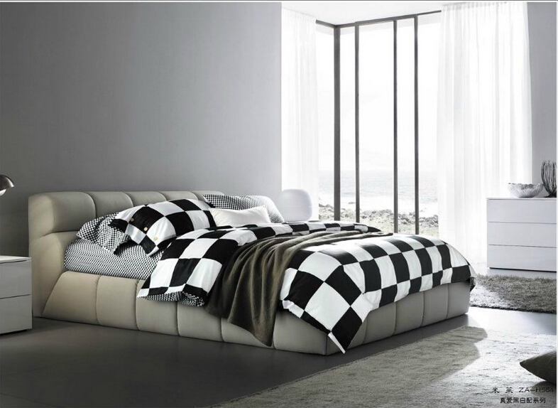 Full Queen 100%cotton Fitted Sheet/3d Black White Plaid/cheap Comforter Sets/contemporary