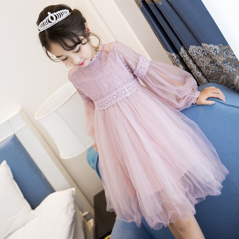 2017 New Dresses For Girls Cute Lace Solid Long Lantern Sleeve Children Dress O-Neck Ball Grown Party Princess Baby Kids Clothes fashion 2016 new autumn girls dress cartoon kids dresses long sleeve princess girl clothes for 2 7y children party striped dress
