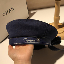 2019 Autumn Winter Woman Hat Fashion Ribbon Bow Beret Letter Embroidery Winter Hats Vintage Male Beret French Hat Navy Cap