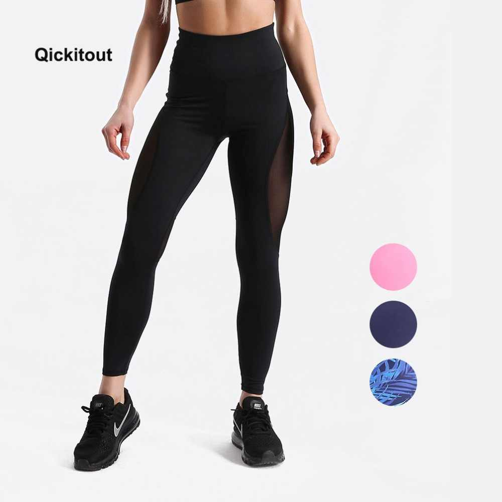 bbbf4884ba7dbb Qickitout Women quick drying High elasticity fitness trousers Mesh  Patchwork Push Up Leggings Fitness Pants workout