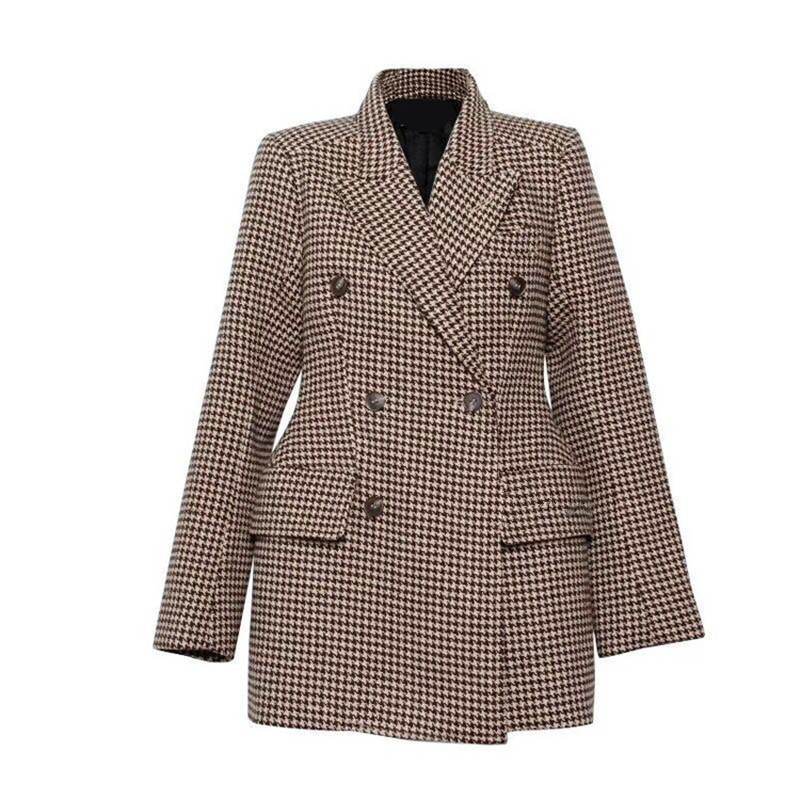 Brand Blazer Top Quality Designer Plaid Blazer Jacket Women's Double Breasted Checks Slim Blazer Jacket