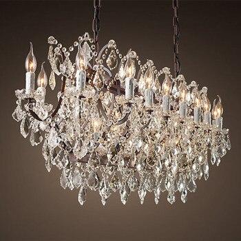 Iluminação lustre de cristal do vintage rústico vela lustres pingente lâmpada pendurado luz para casa e restaurante