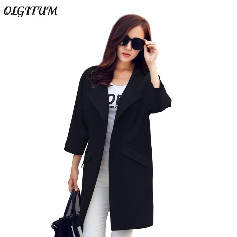 OLGITUM HOT SALE! 2019 New Fashion Women Spring Coat Female O-Neck Quarter Sleeve Women   Trench   Coat Women Long Coat
