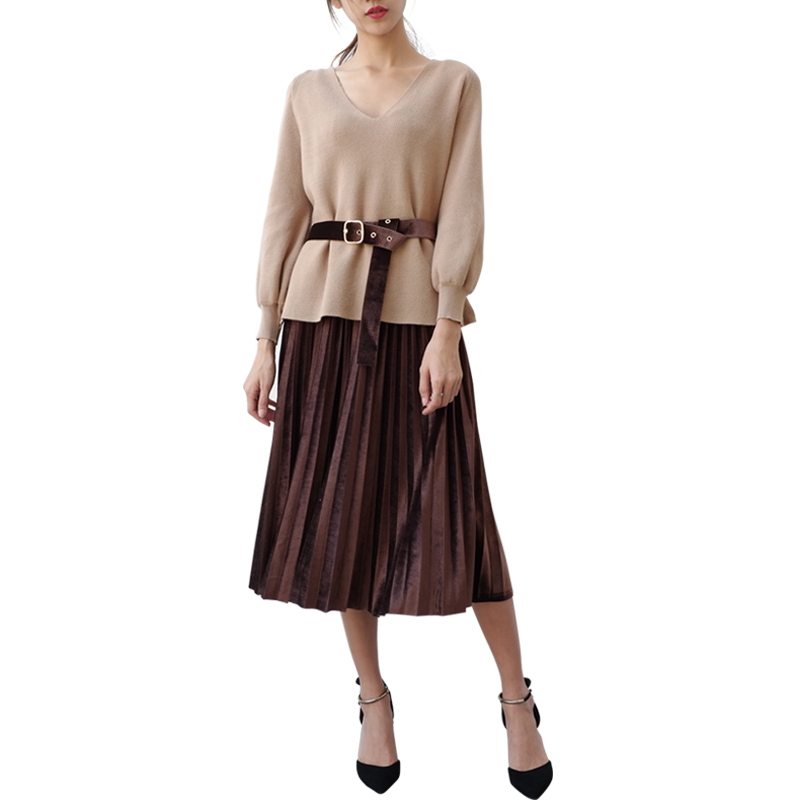2018 Spring Autumn Women V-neck Long Sleeve Forked Knit Sweater pullovers+Velvet Pleated Suspenders Dress Two Piece Set Z410