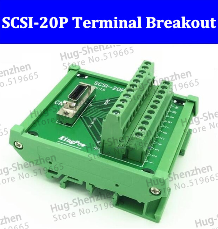 High quality SCSI 20P 20 Pin CN slot 180 degree acquisition card Terminal Block Breakout Board Adapter DIN Rail Mounting 5pcs
