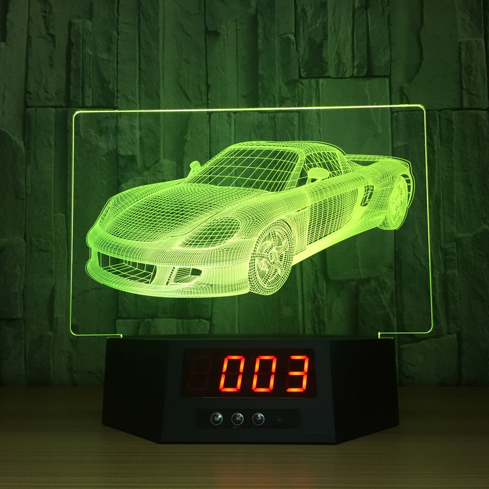 Fast & Furious Ferrari 7 Color Lamp 3d Visual Led Night Lights For Kids Touch Usb Table Lampara Lampe Baby Sleeping Nightlight three dimensional 3d visual reading lights wood acrylic clear small lamp button type led stereo night light folding book lights