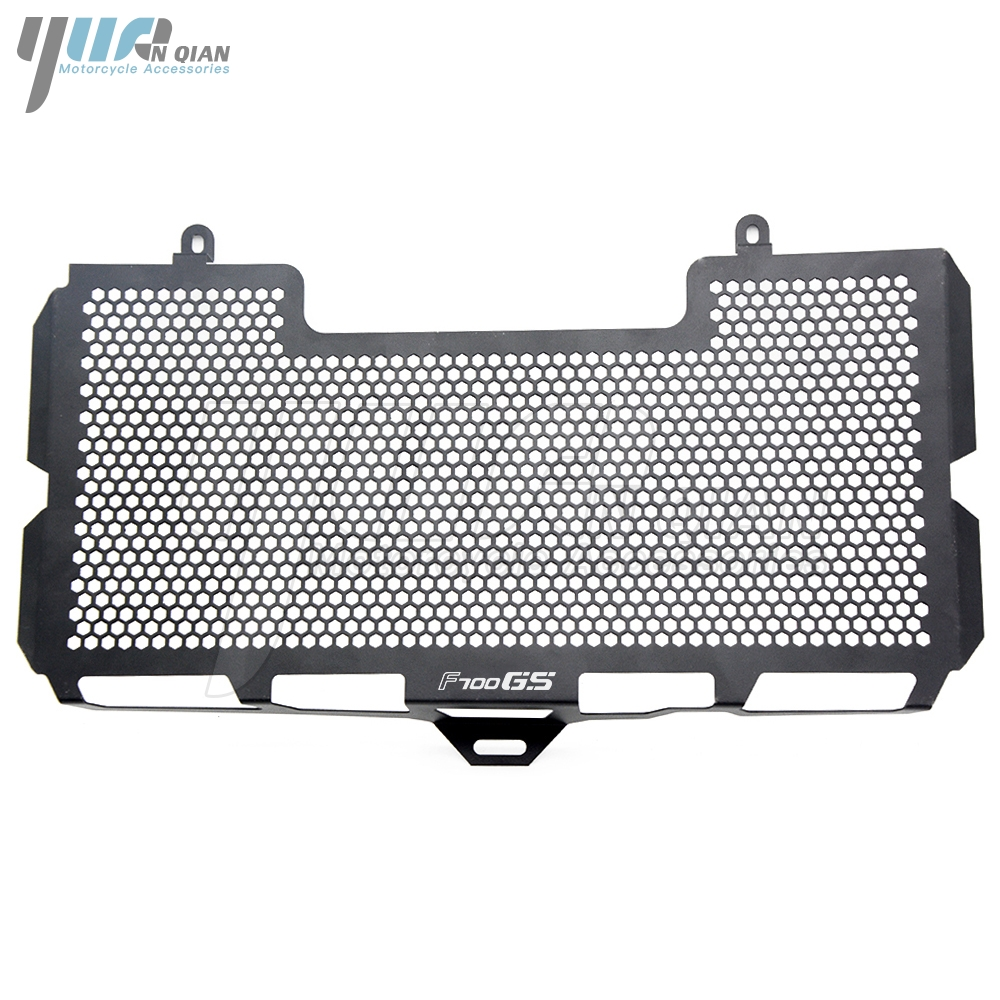 YUANQIAN BLACK For BMW F700GS 2008-2018 Stainless Steel Radiator Grille Guard Cover f700gs 2009 2010 2011 2012 2017 2016 2015 motorcycle parts replacement grille guard cooling cooler radiator for honda cb600 hornet cbf600 2008 2009 2010 2011 2012 2013 13
