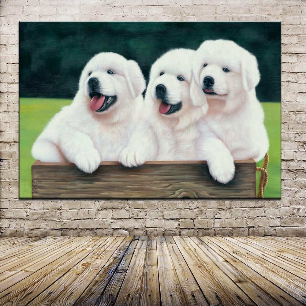 High Quality Print Oil Painting Cotton Prints+Little Hand-Painted Wall Art Lovely White Dogs At The Chair Swings In Back Garden
