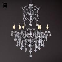 6 Heads Long Black Wrought Iron Crystal Candle Chandelier Light Fixture Vintage Retro Antique Lustre Lamp Foyer Living Room E14
