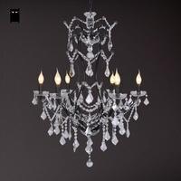 6 Heads Long Black Wrought Iron Crystal Candle Chandelier Light Fixture Vintage Retro Antique Lustre Lamp Foyer Living Room E14