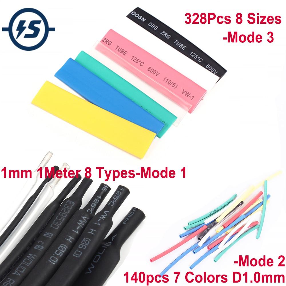 Heat Shrink Tube Tubing Multi Color Assortment Sleeving Wrap Tubes 328Pcs 8 Sizes /140pcs 7 Colors/ 1mm 1Meter 8 Types
