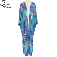 Jessie Vinson Mujeres de La Moda Bohemia Mezclado Imprimir Blusa de La Gasa Envuelve de Largo Cardigan Kimono de Verano Beach Swimsuit Cover up