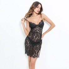 Lace mini dress backless