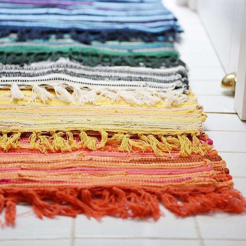US $15.5 32% OFF|Kitchen Rug Cotton Geometric Floor Carpet Entrance Door  Mat Tapis De Cuisine Anti Slip Handmade Woven Room Mats Rugs 76x47cm-in Rug  ...