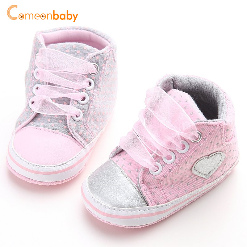 Mother & Kids Baby Kids Girls Heart-shaped Embroidered Cotton Fabric Elastic Band Shoes Elastic Band Polka Dot Printing First Walker Shoes Baby Shoes