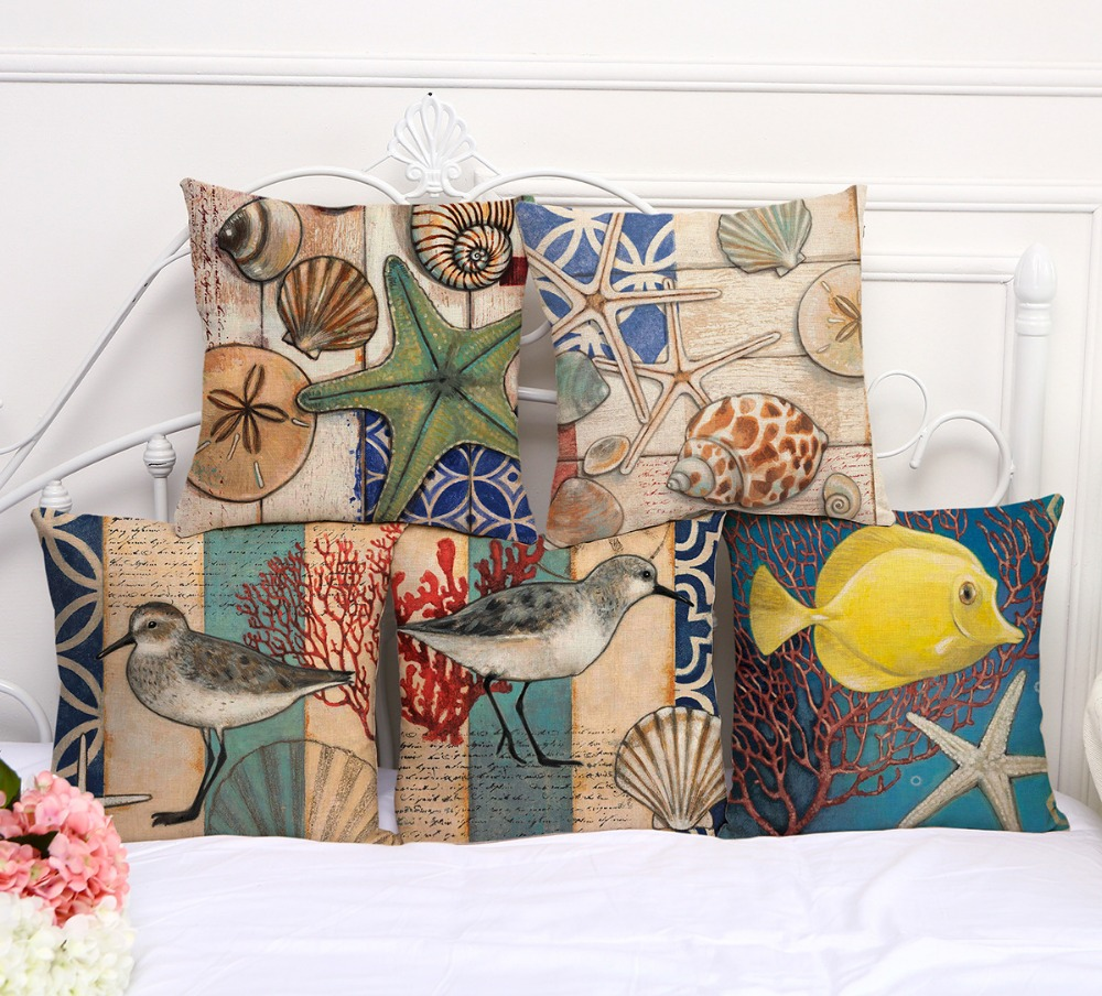 Linen print home decorative throw pillow case decorate sofa cushion cover Square 45x45cm Mediterranean Seagull shell Star Fish
