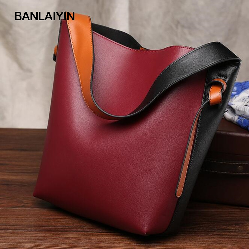 купить Fashion Design Women Cow Split Leather Handbags Hit Color Bucket Shoulder Bags Ladies Large Capacity Casual Ladies Shopping Bag по цене 4161.45 рублей