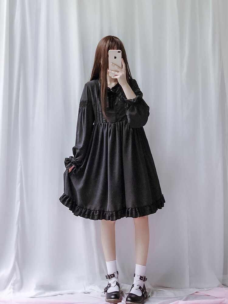 691e5d7cea3d6 ... 2019 Japanese Soft Sister Red Dress For Female Mori Girl Vintage  Lantern Sleeve Long Sleeve Lace ...